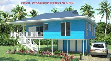 China Casa de planta baja prefabricada de dos pisos incombustible de la playa, casas de planta baja caseras azules de la playa distribuidor